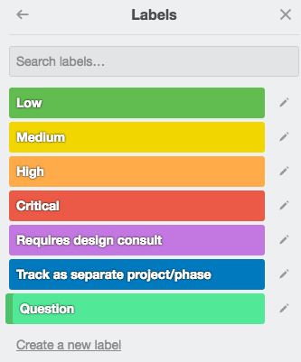 Trello's labels tool enables you to prioritize for cards and flag items for discussion.