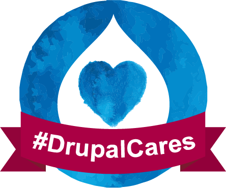 DrupalCares badge with blue heart