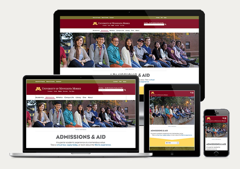screengrab of Morris admissions page on various devices