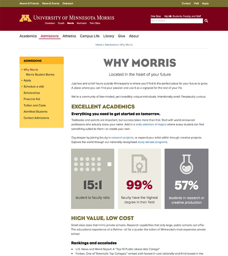 screengrab of a webpage on Morris site, why to attend Morris