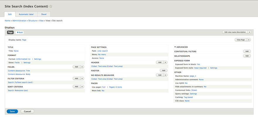 Screenshot of custom search view page