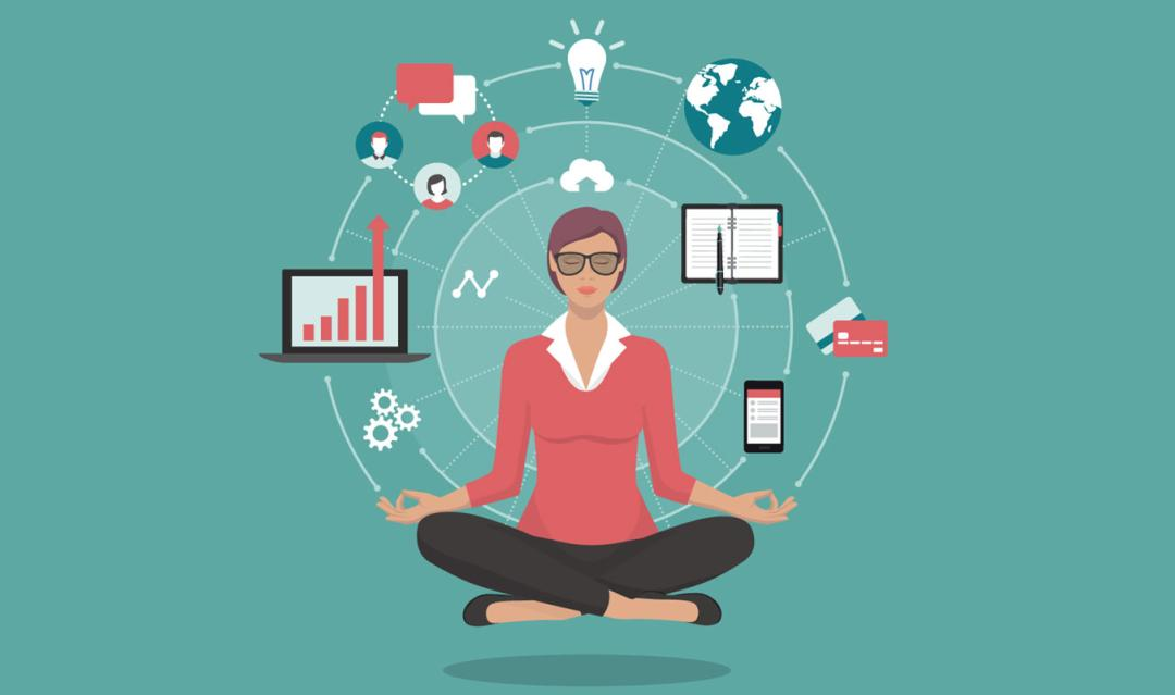 illustration of a woman in meditative pose, with icons of project management (computer, charts, ideas) surrounding her