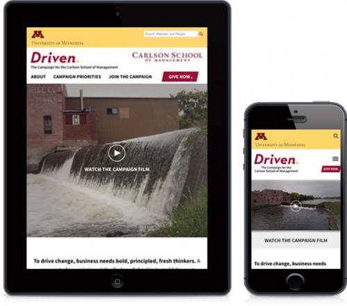 screenshot of Carlson Driven website on mobile and tablet