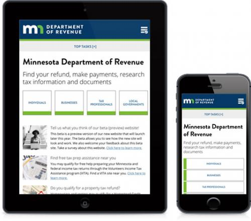 photo of Revenue website on mobile and tablet device