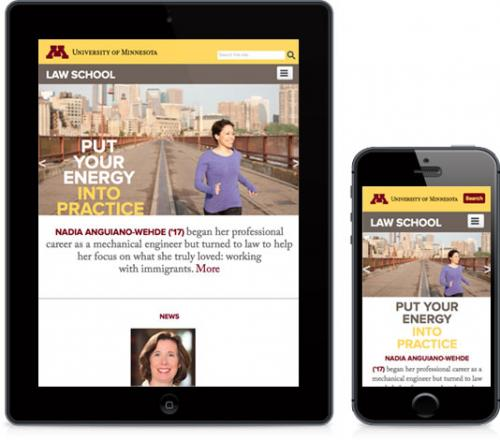 screenshot of Minnesota Law School website on mobile and tablet