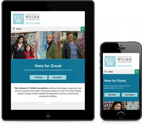 screenshots from wilder foundation on tablet and mobile device