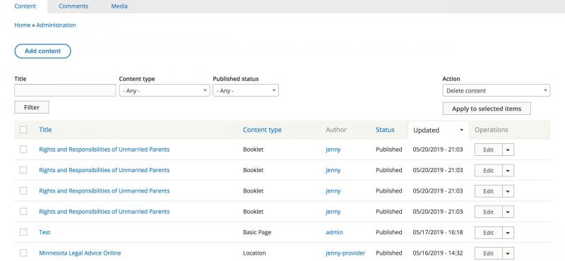 Screenshot of duplicate results on the Drupal 8 Admin Content screen