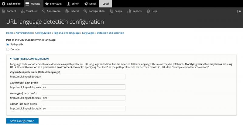 Drupal languages interface URL detection prefix customization screenshot