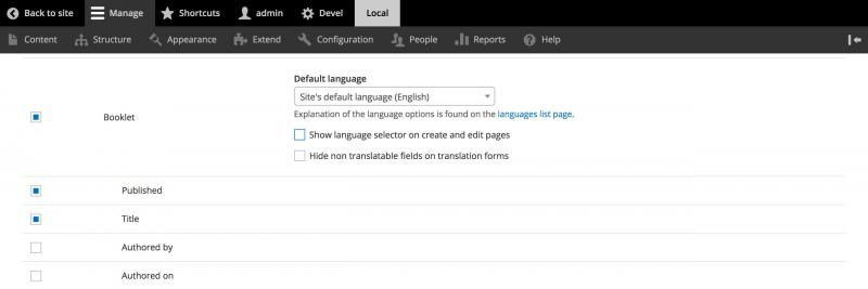 Drupal content translation interface fields close up screenshot