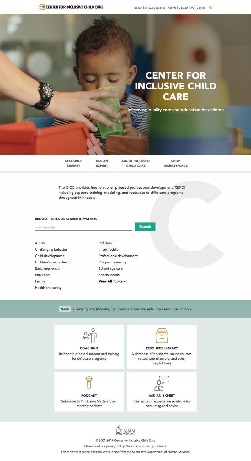 screenshot of website homepage, with large image banner, and many links