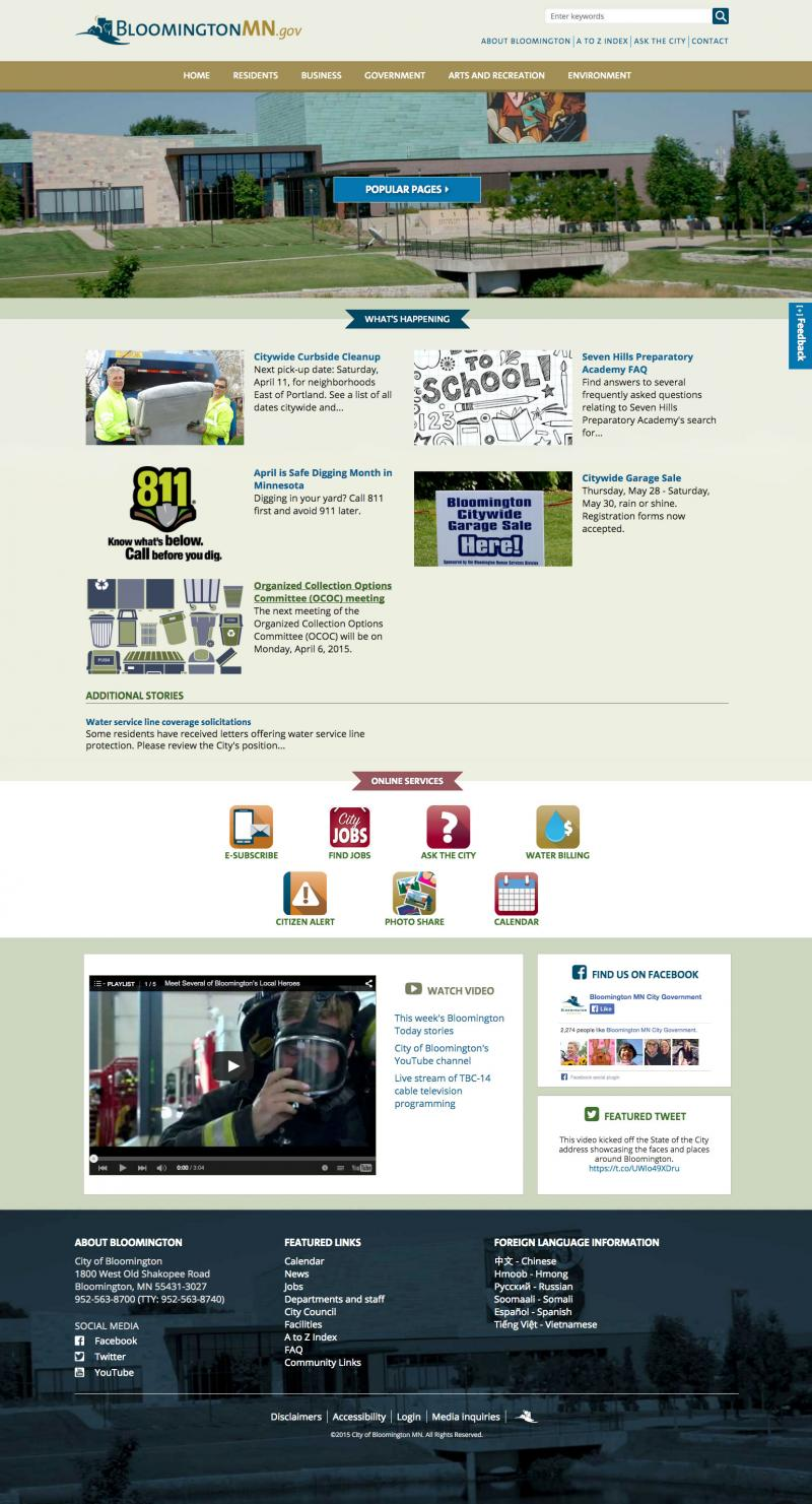 city of Bloomington website homepage