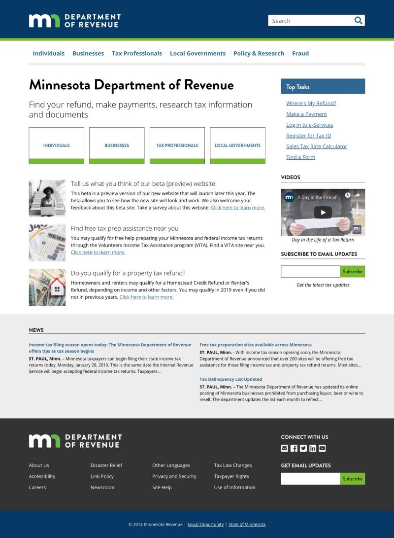 homepage of revenue website