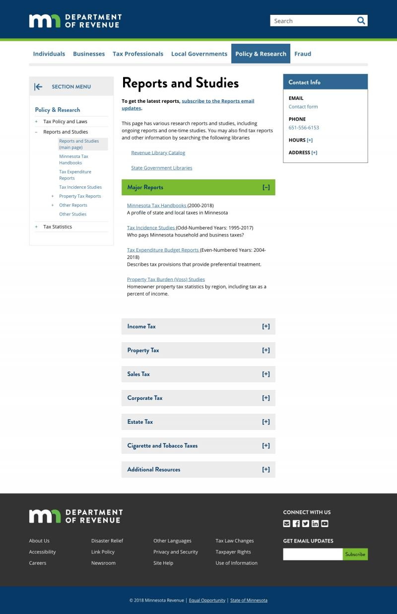 screenshot of site page on reports