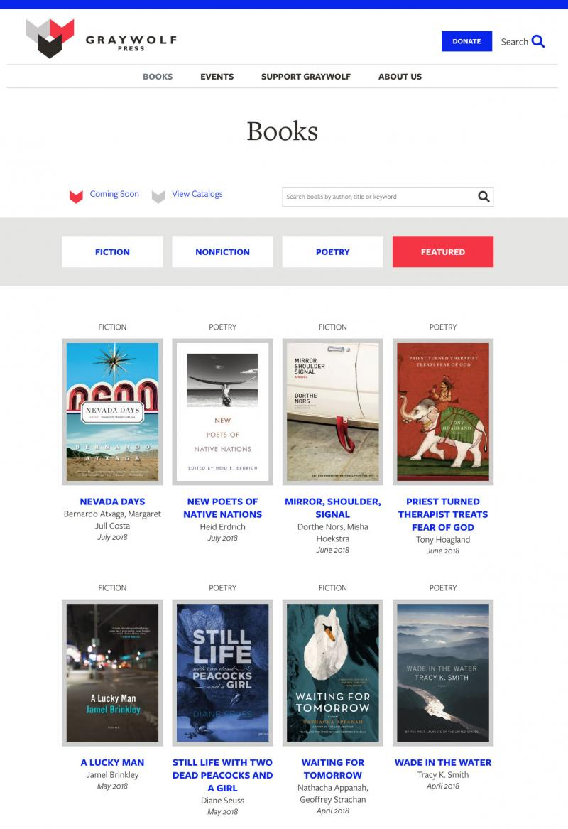 graywolf website, books page, showing a list of books and their cover images