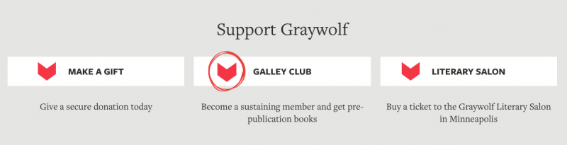 graywolf website, support buttons