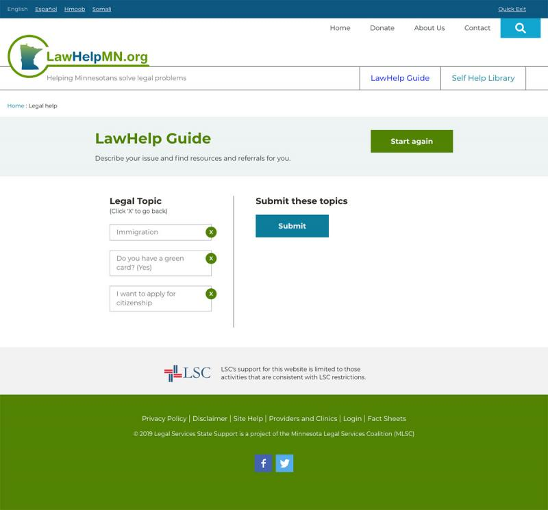 sample of layout in LawHelp legal guide app