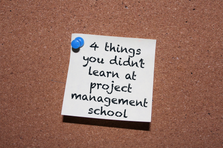 4 Things You Didn't Learn at Project Management School postit on board
