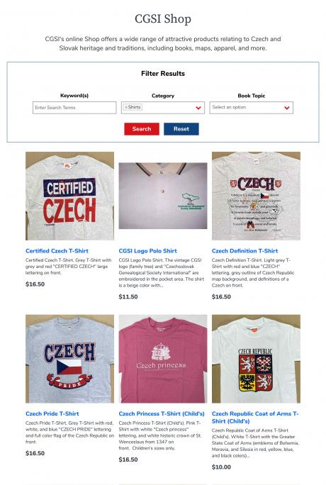 screenshot of online store