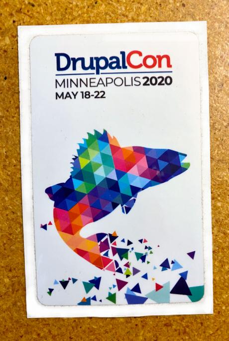 DrupalCon Minneapolis sticker with icon of fish