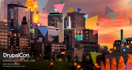skyline at sunset in Minneapolis with DrupalCon 2020 type overlaid