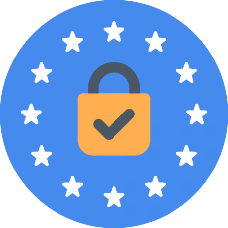 icon of padlock with stars from European Union flag surrounding it
