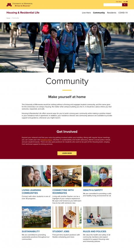 screenshot of the Housing Community page