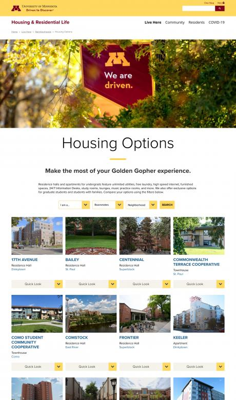 screenshot of the campus housing selector online