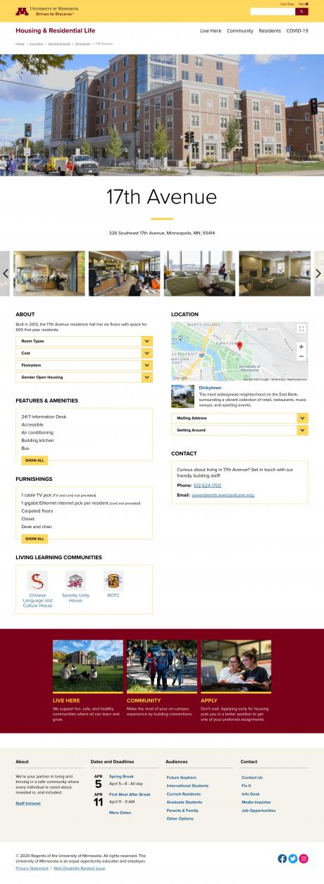 screenshot of an individual residential hall page