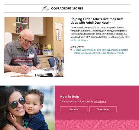 screenshot of Wilder page with article about elderly client
