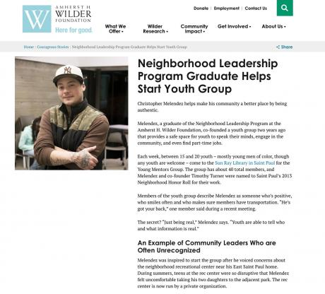screenshot of Wilder client story, telling readers about their services