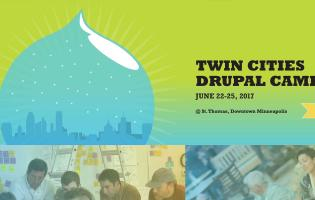 Screengrab of Twin Cities Drupal website, with snowglobe logo in blue and green background
