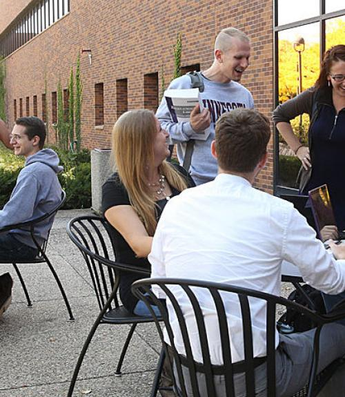 law students socializing outside