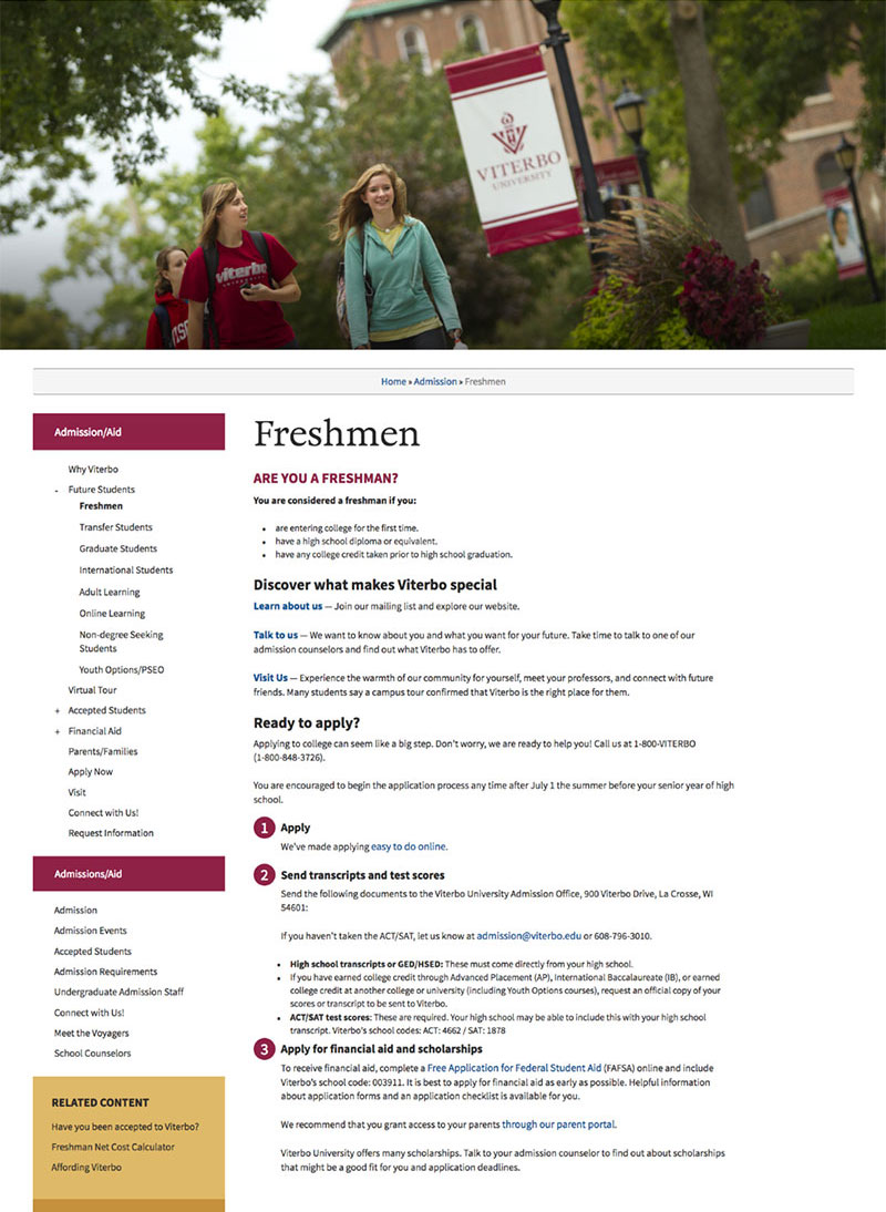 Screengrab of Viterbo University freshmen page with copy